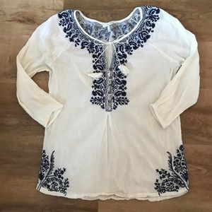 Joie Floral Embroidered Boho Tassel Blouse S Top